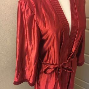 Lady Ronte Long Silky Red Robe - Vintage